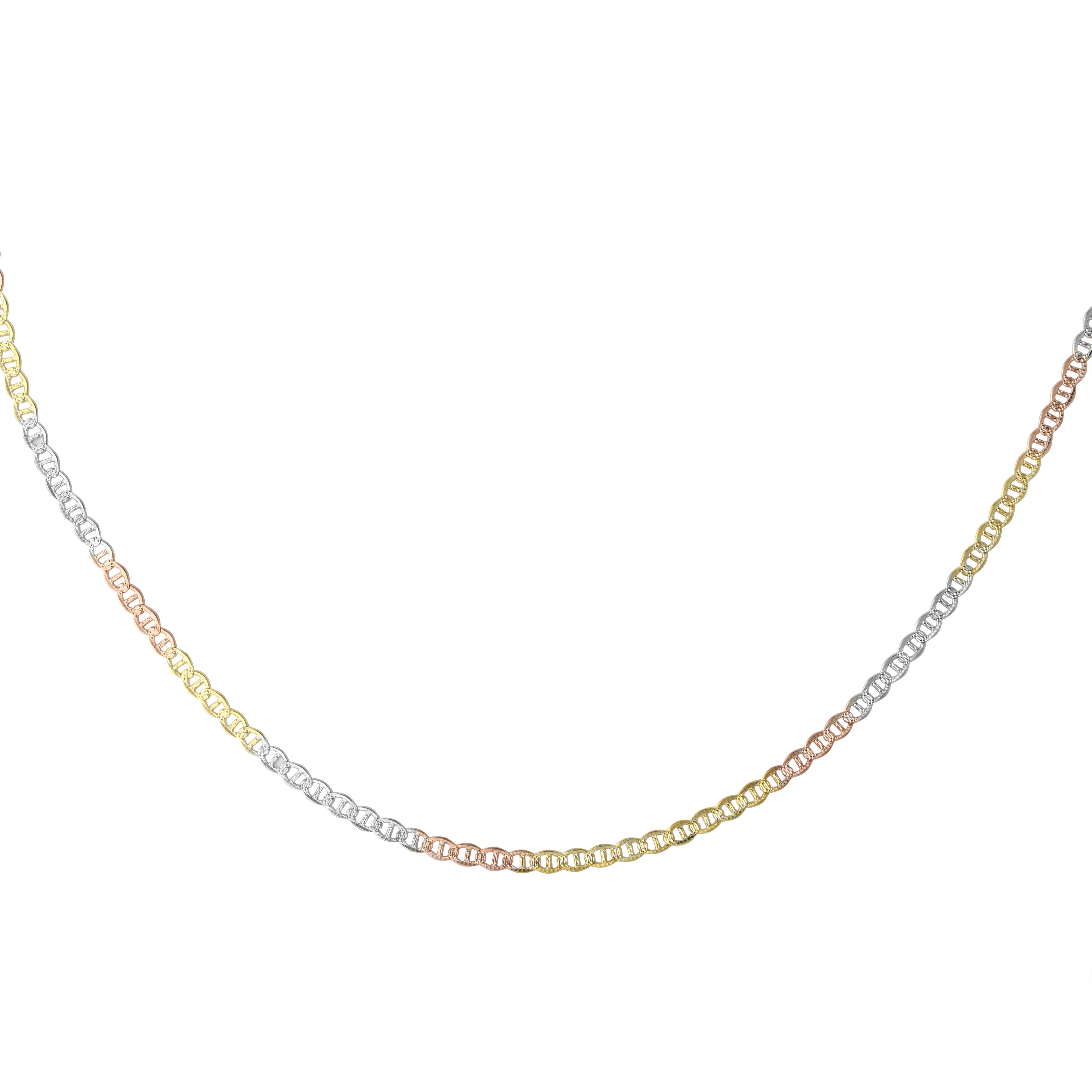 18'' Links style chain - 10K 3-tone Gold