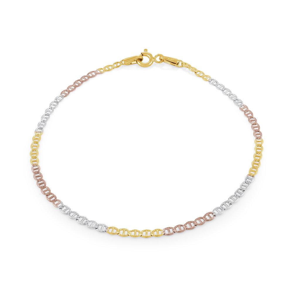 7.5'' Links style bracelet - 10K 3-tone Gold