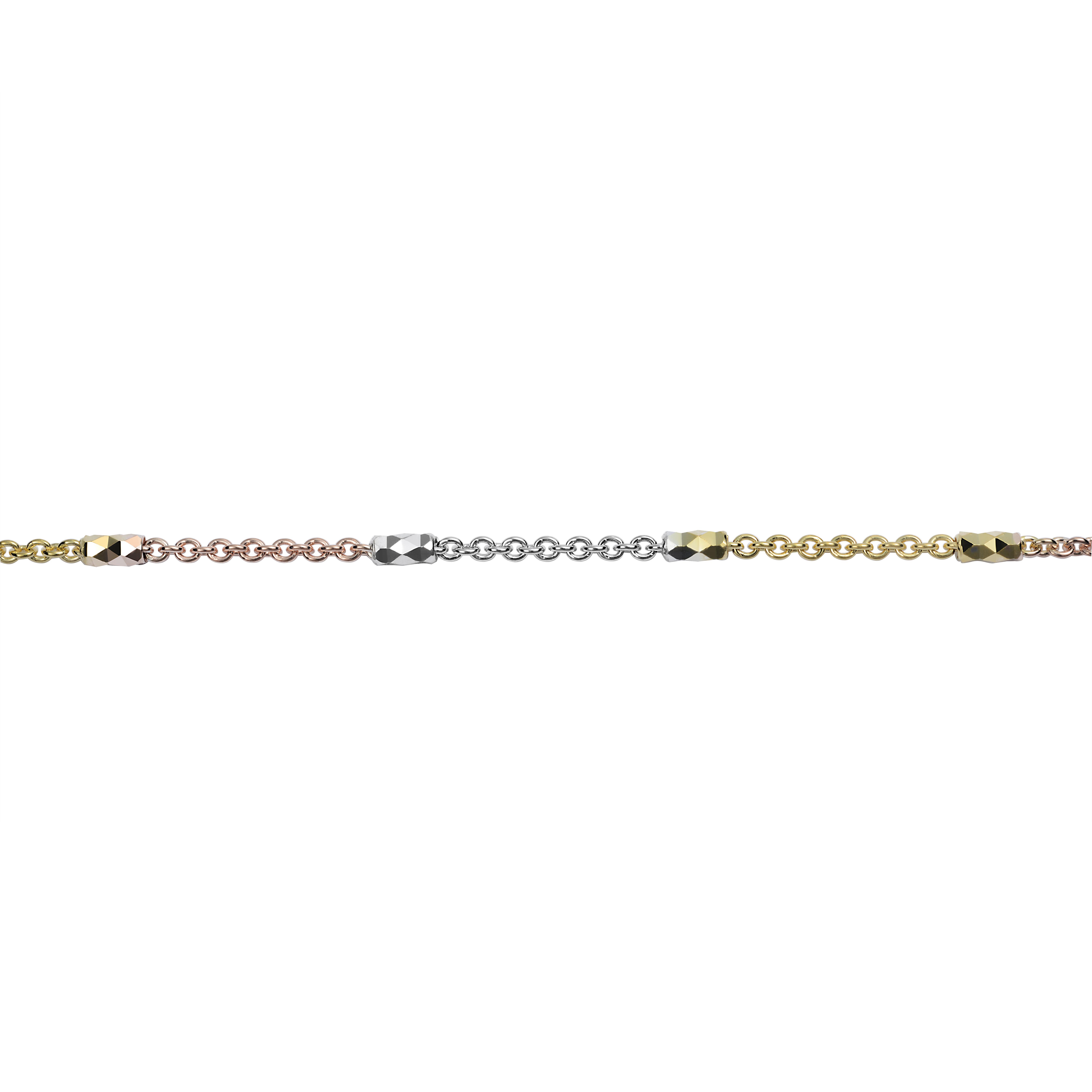 Bracelet 7.5'' avec intervalles - Or 3-tons 10K