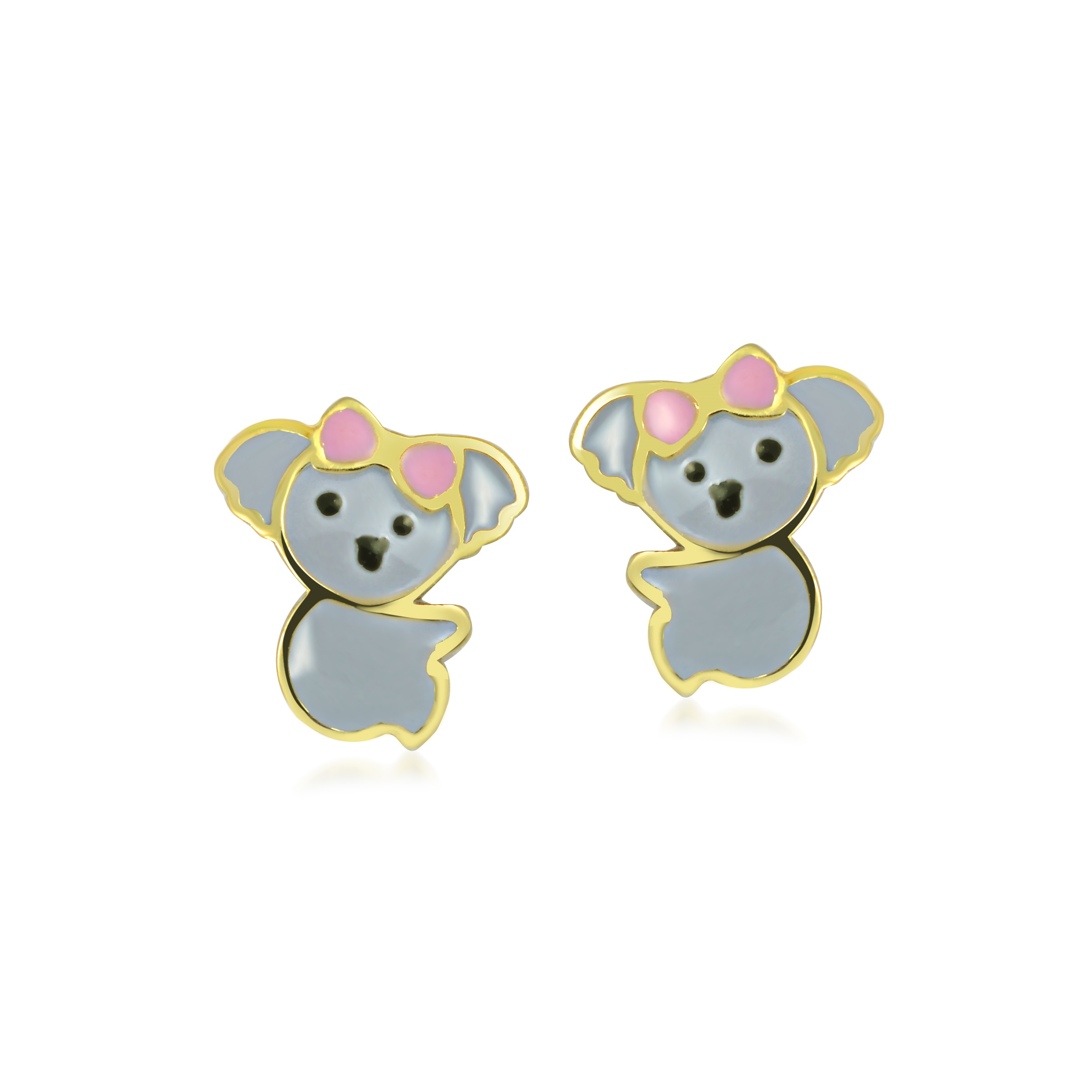 Koala earrings with enamel - 10K yellow Gold