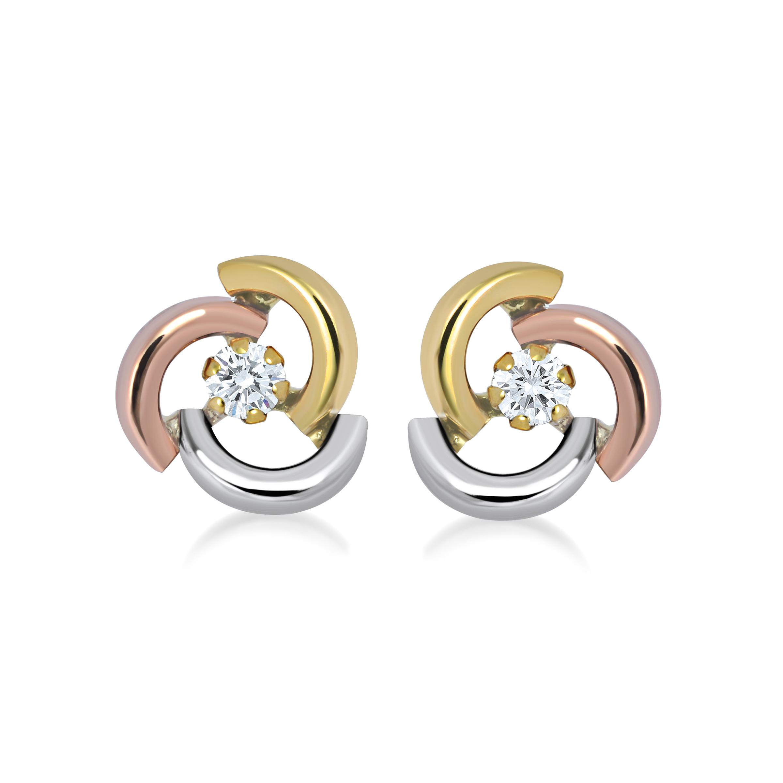 Boucles d'oreilles en or avec zircons cubiques