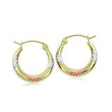 Hoop earrings for women - 10K 3-tone Gold
