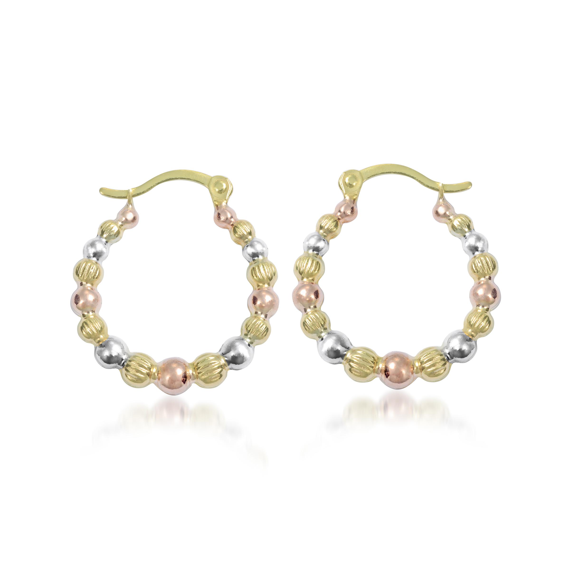 Boucles d'oreilles d'apparence perlées - Or 3-tons 10K