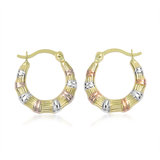 Hoop earrings for women - 10K 3-tone Gold