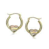 Boucles d'oreilles anneaux avec cœurs - Or 3-tons 10K