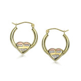 Hoop earrings  with hearts - 10K 3-tone Gold