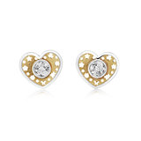 Heart earrings in gold with cubic zirconia and cutouts