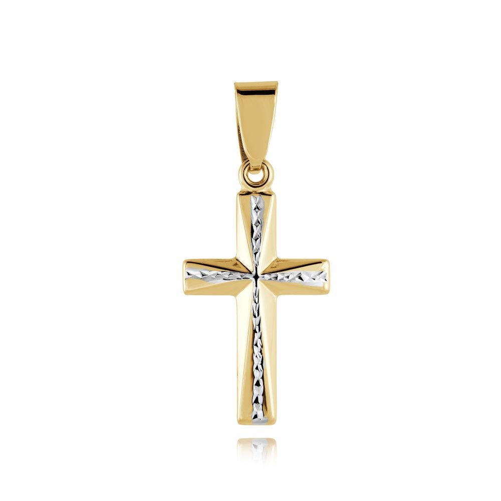Cross pendant - 10K 2-tone Gold