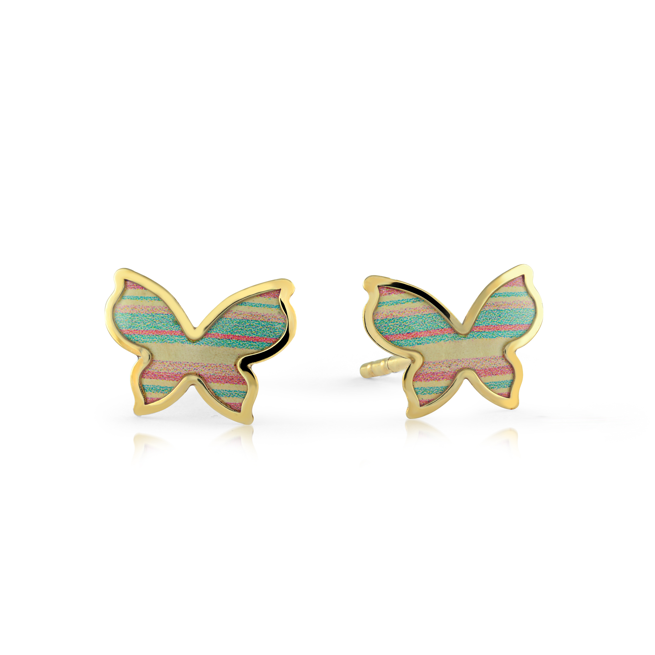 Butterfly earrings with enamel - 10K yellow Gold