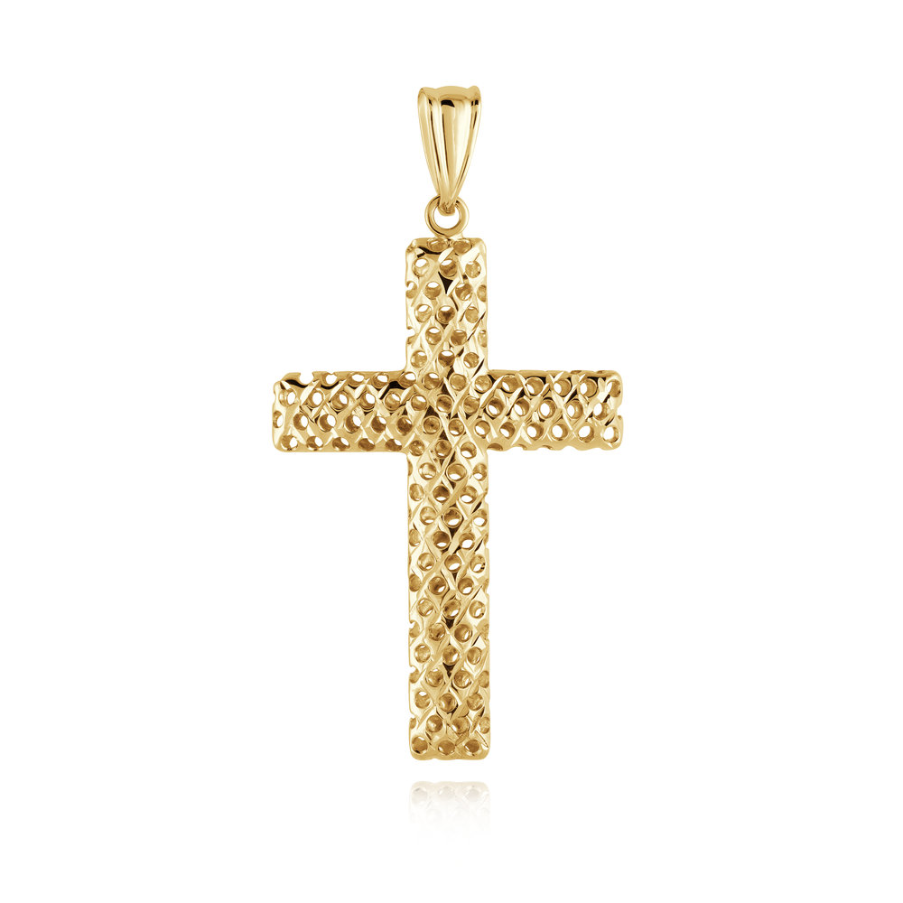 Threaded looking cross pendant - 10K yellow Gold