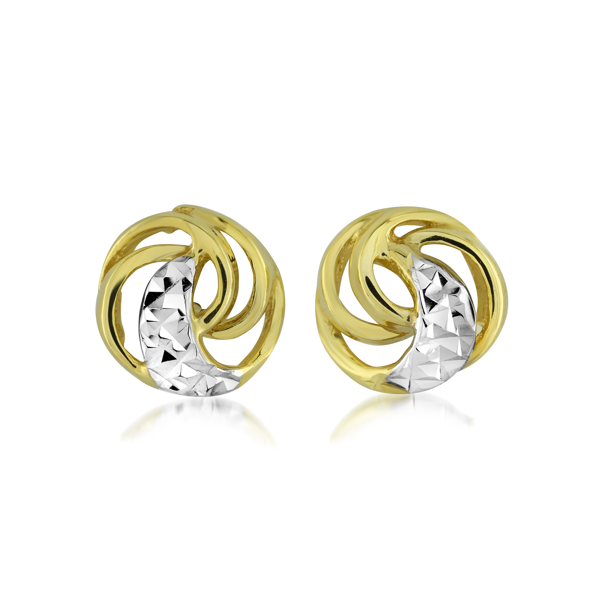 Knot earrings for kids - 10K 2-tone Gold