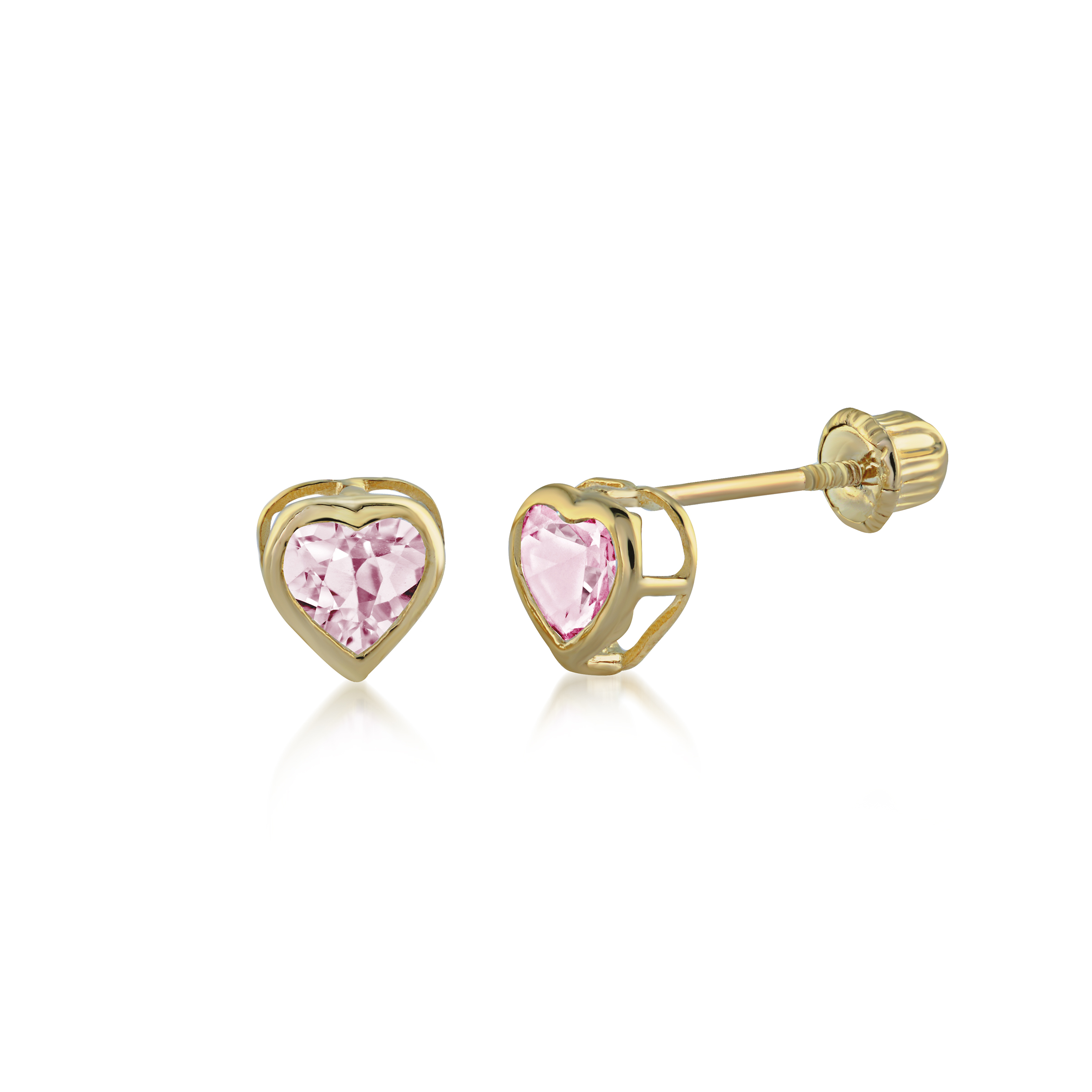 Heart earrings for kids - 14K yellow Gold & pink cubic zirconia