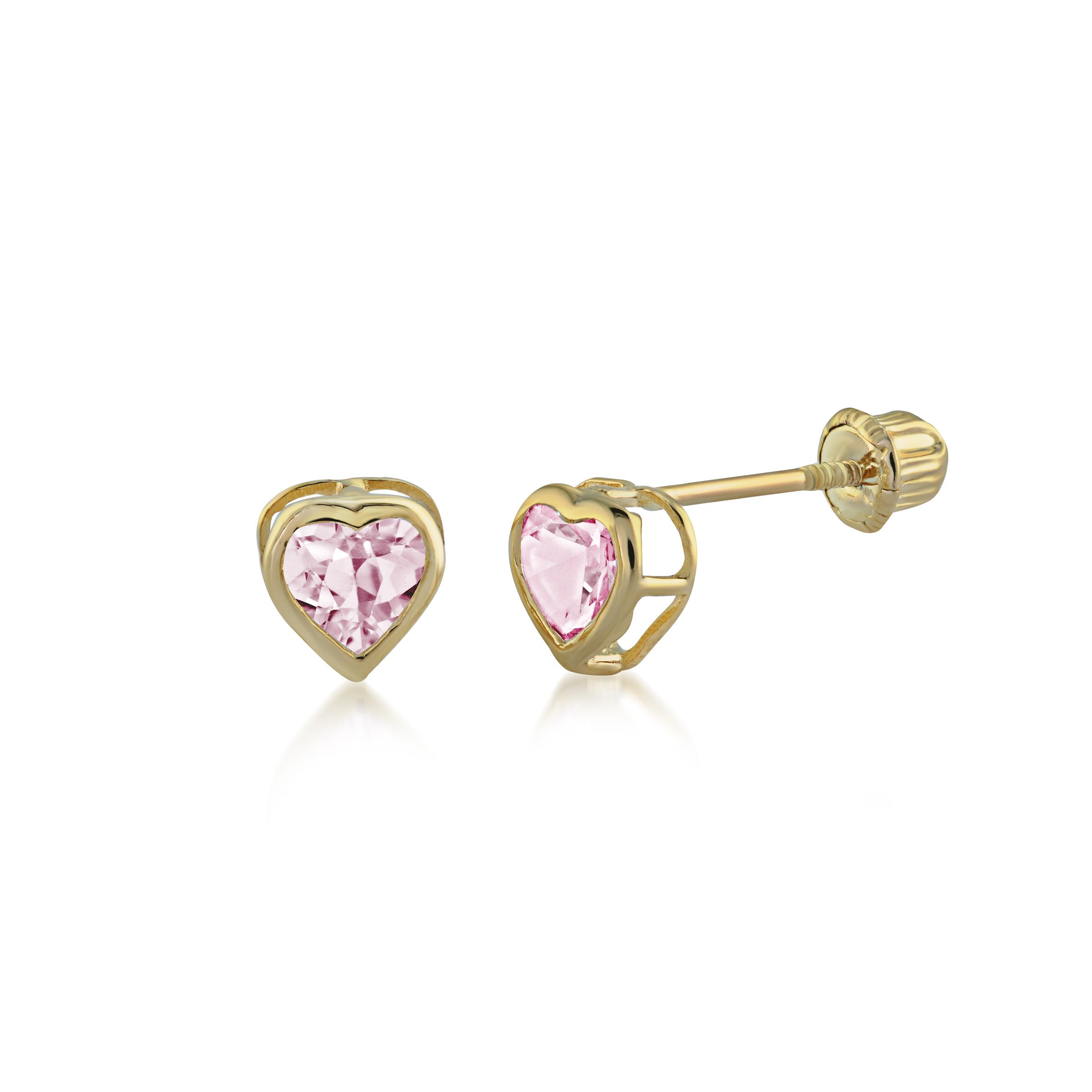 Boucles d'oreilles cœurs pour enfant - Or jaune 14K & zircons cubiques roses