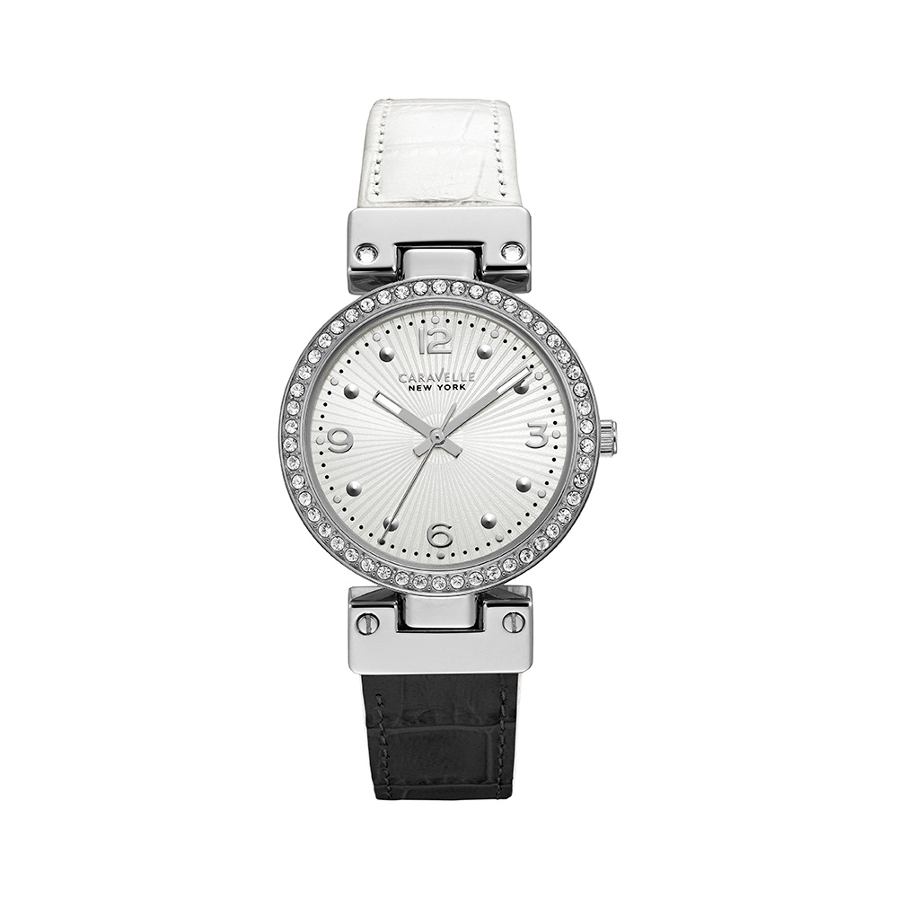 5fac979e8345 Caravelle NY Watch for Women - Reversible black-to-white croco leather  strap