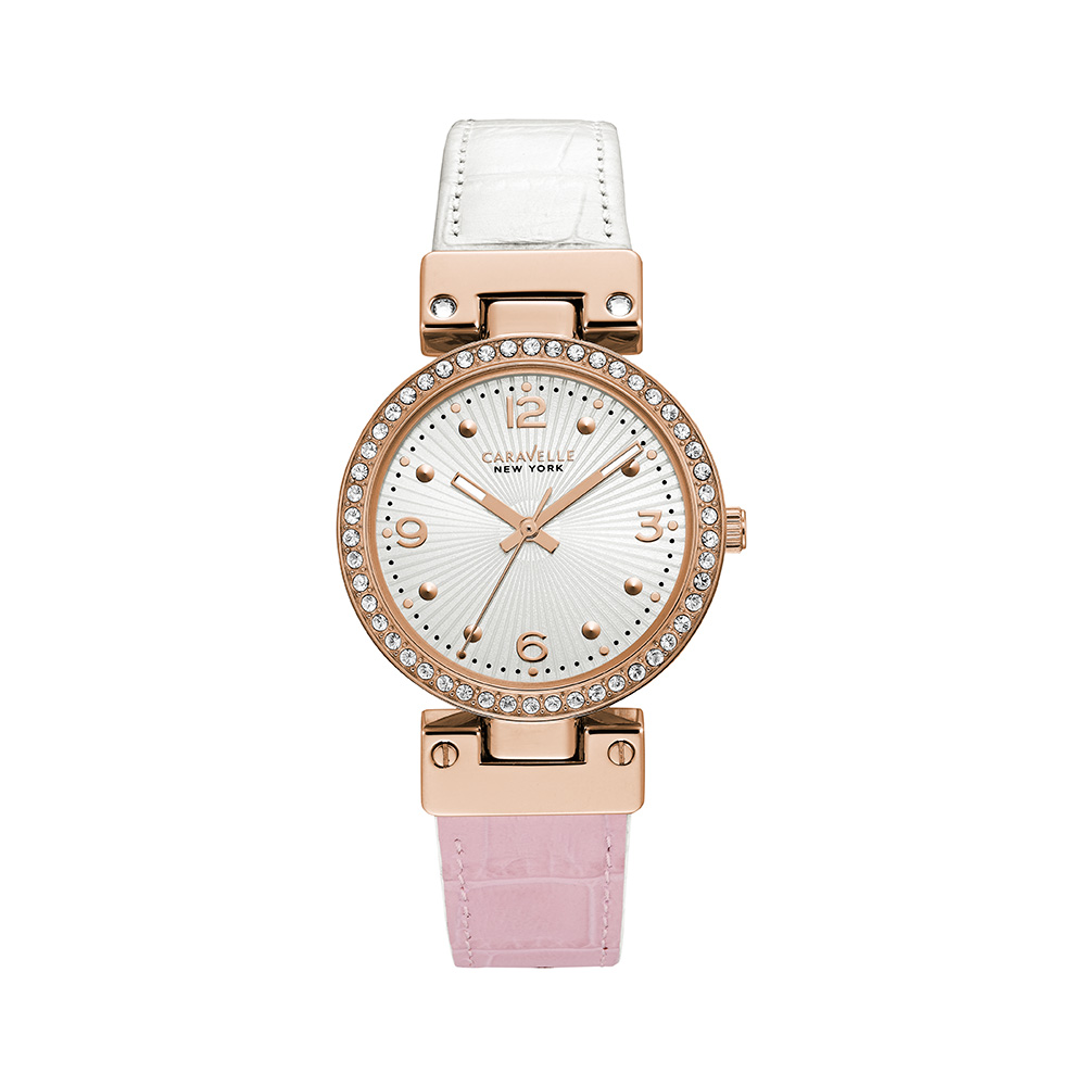 NY Watch for Women - Reversible pink-to-white croco leather strap