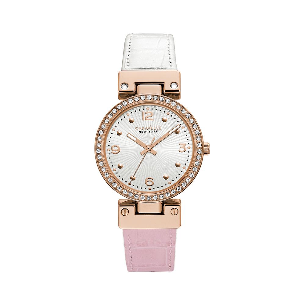 Montre Caravelle NY pour femmes - Bracelet en cuir croco rose à blanc facilement réversible