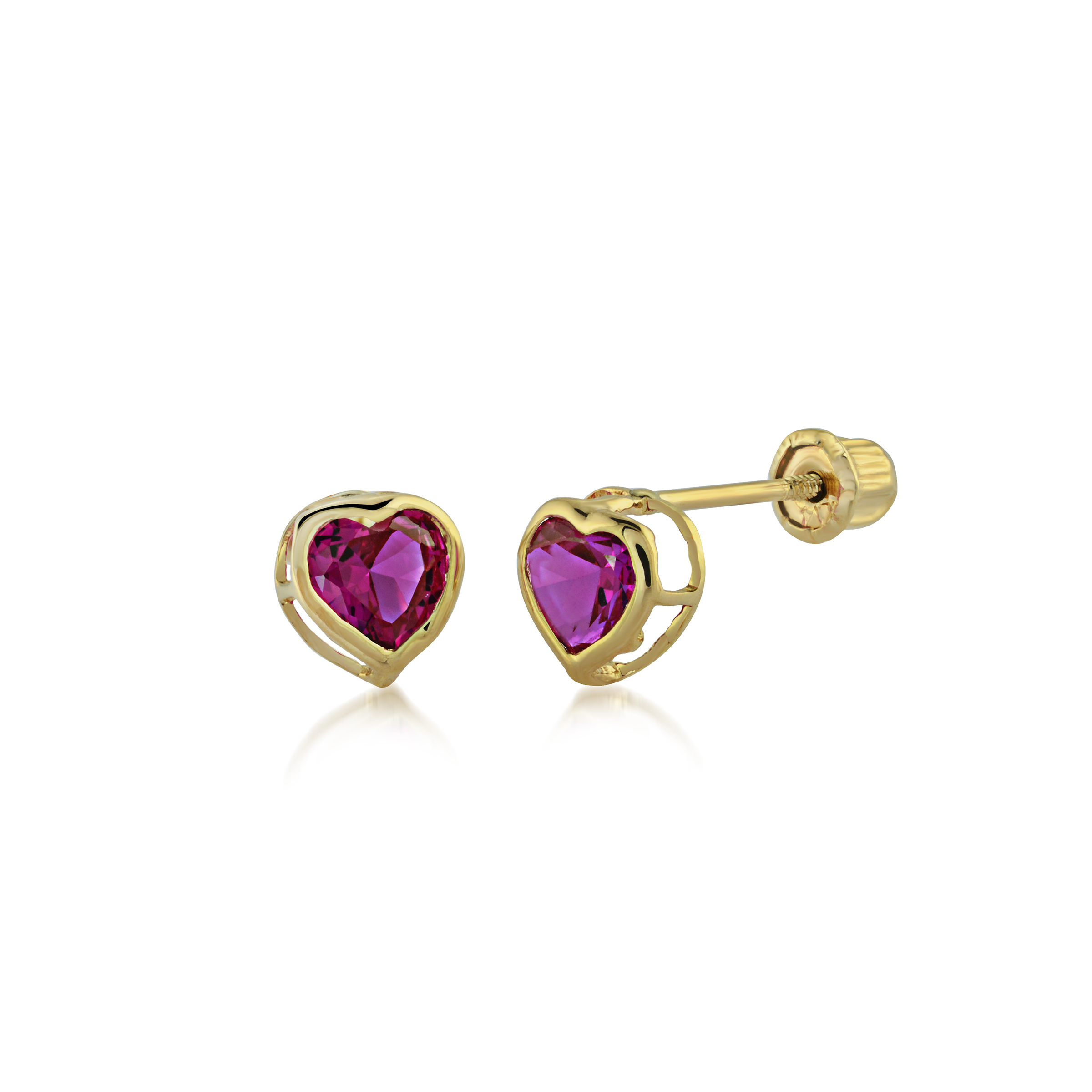 Heart earrings in gold with dark pink cubic zirconia