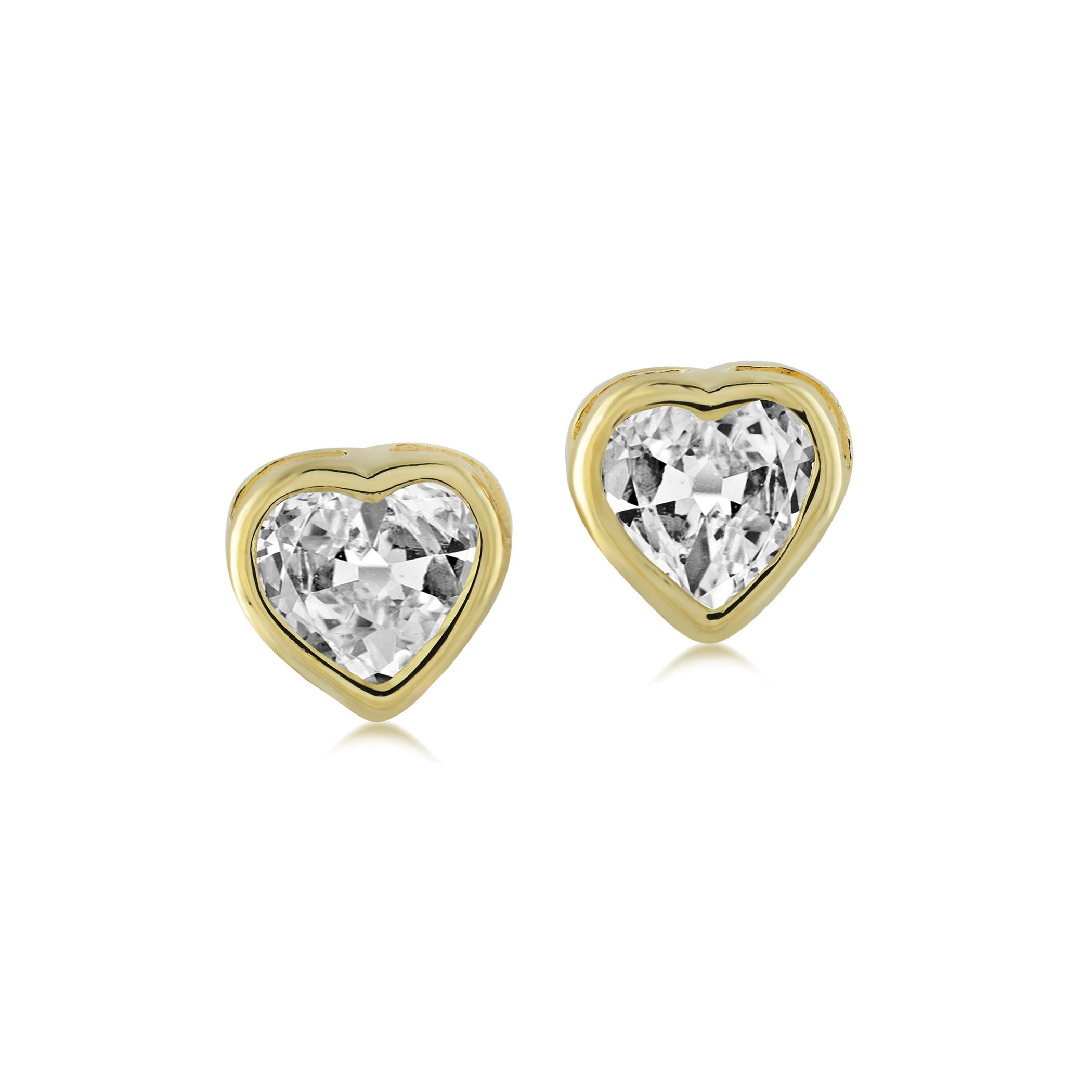 Boucles d'oreilles coeurs en or avec zircons cubiques