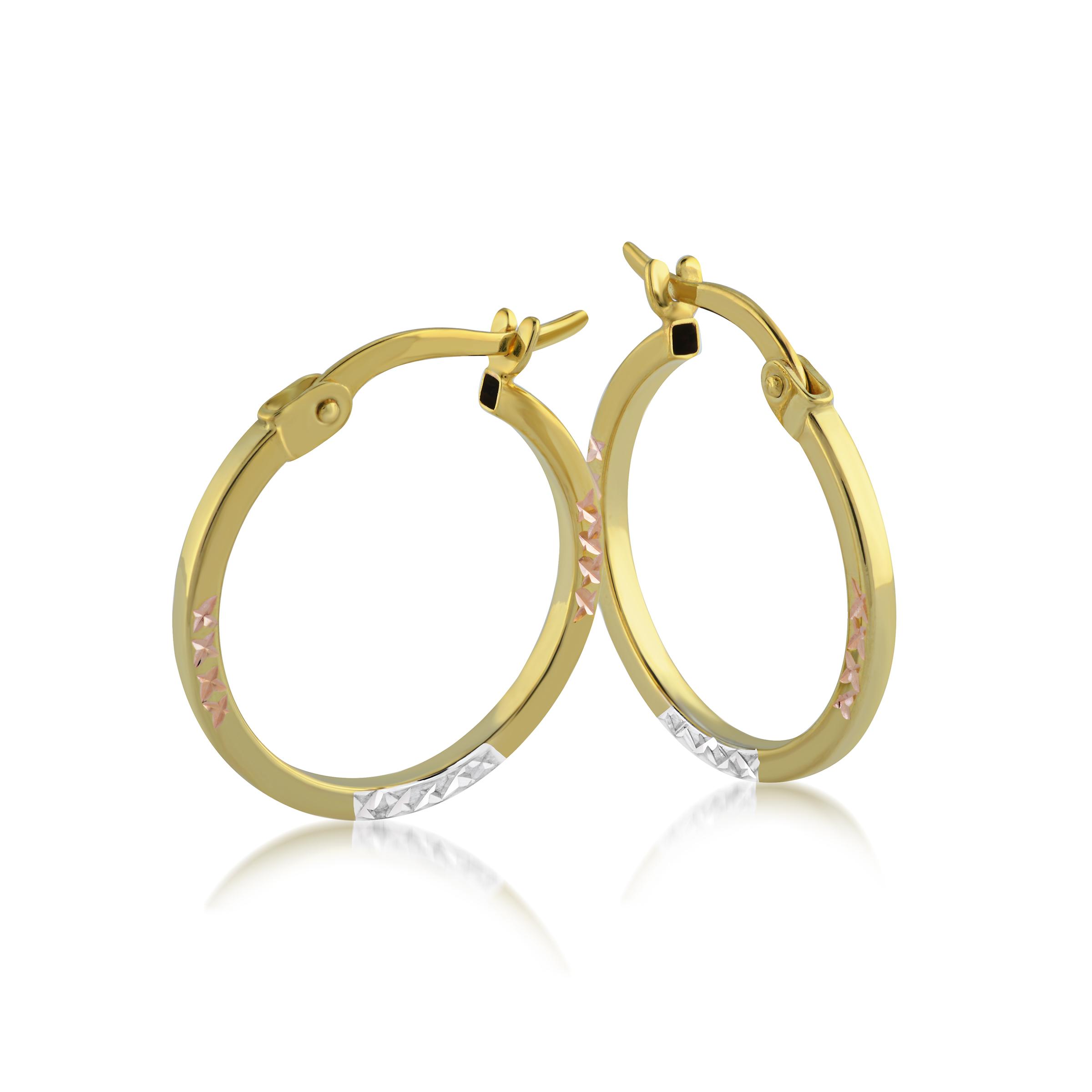 Boucles d'oreilles anneaux pour femme - Or 3-tons 10K