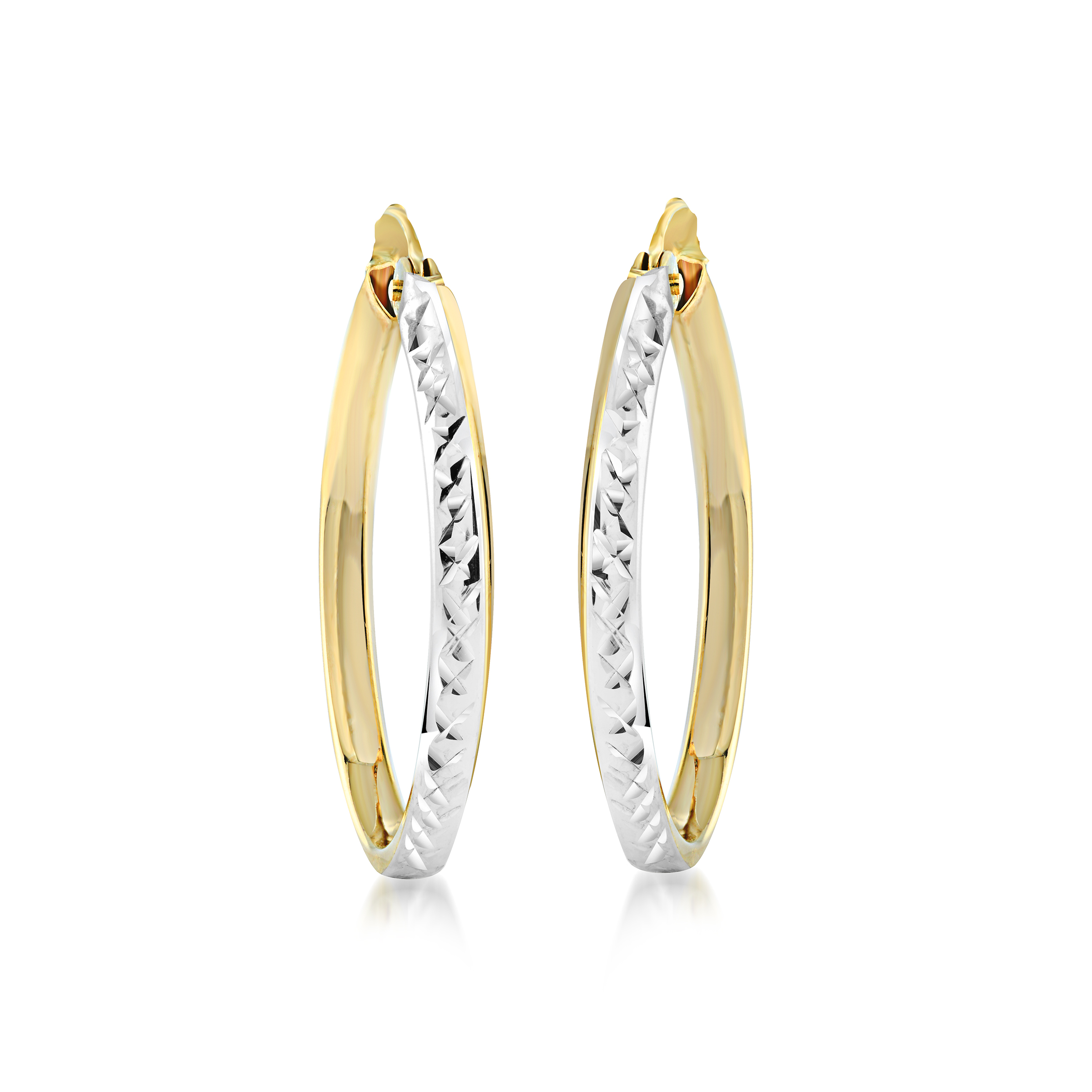 Oval hoop earrings for women - 10K 2-tone Gold