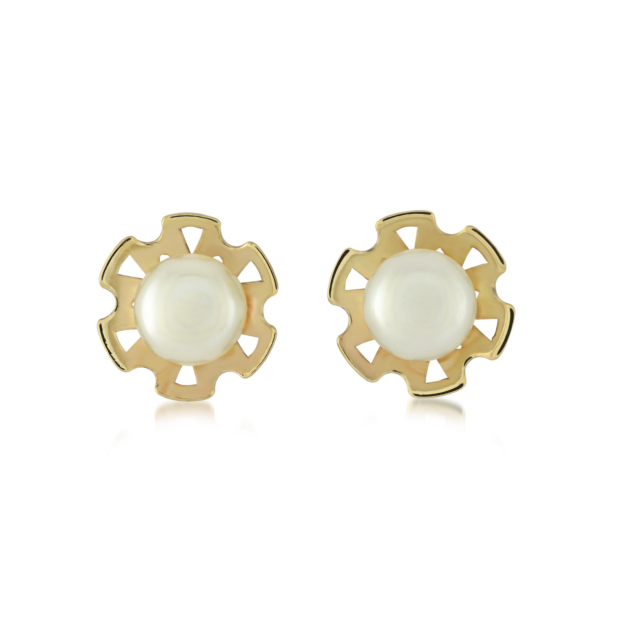 Bloucles d'oreilles coeurs en or avec perles découpes