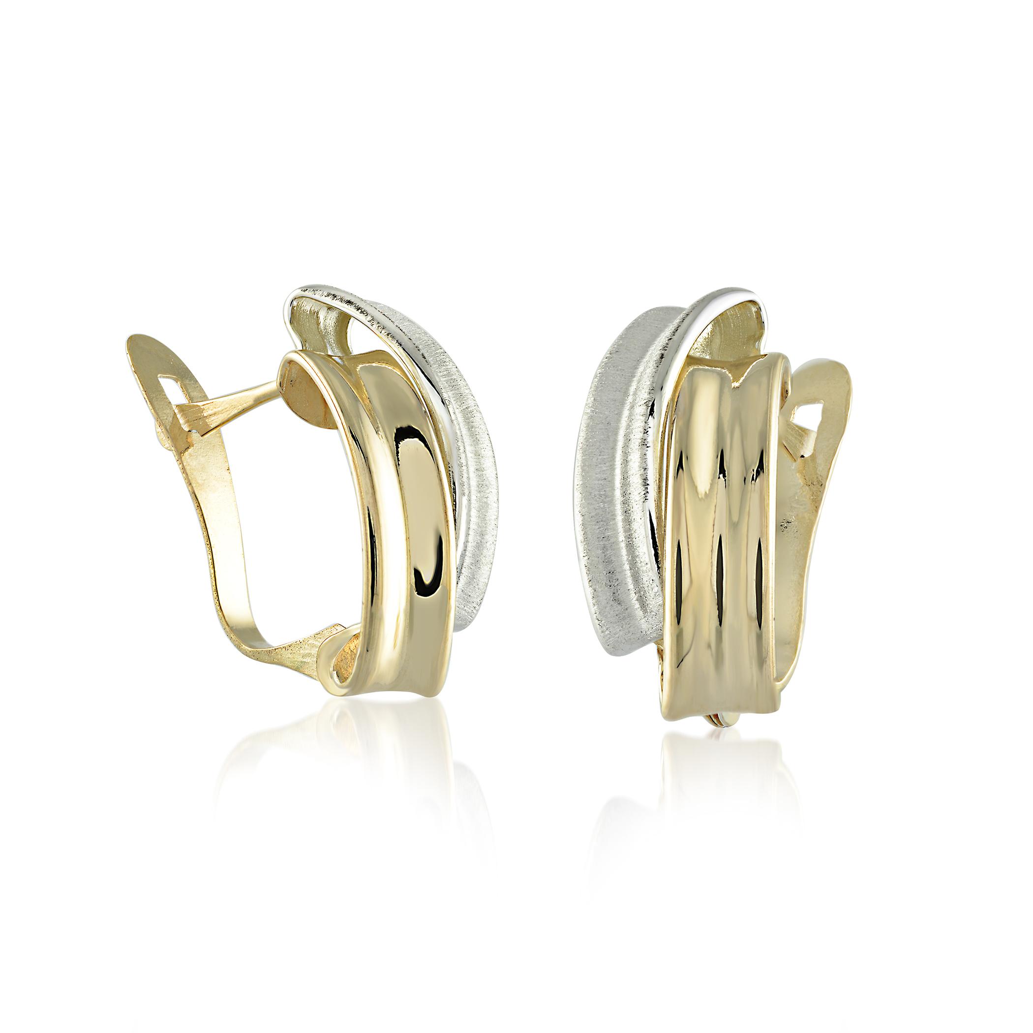 Earrings for women - 10K 2-tone Gold