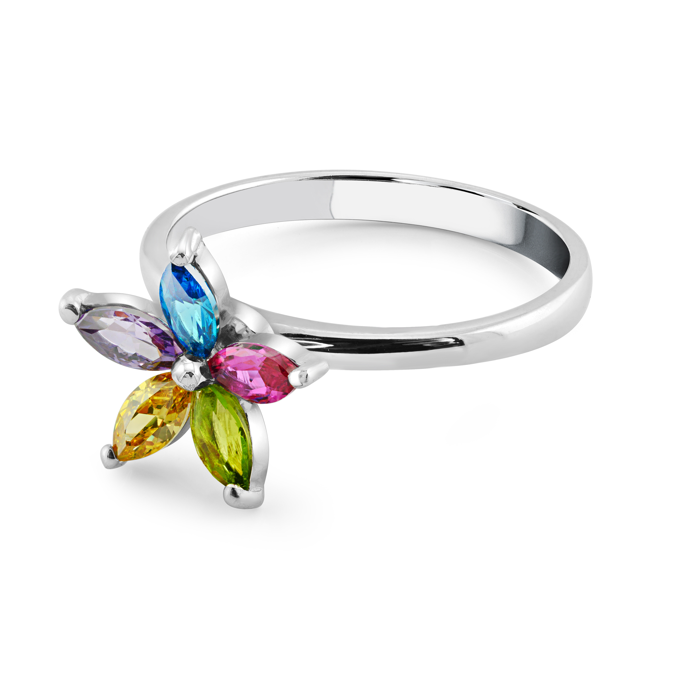 Sterling silver revolving flower ring with multicolor cubic zirconia