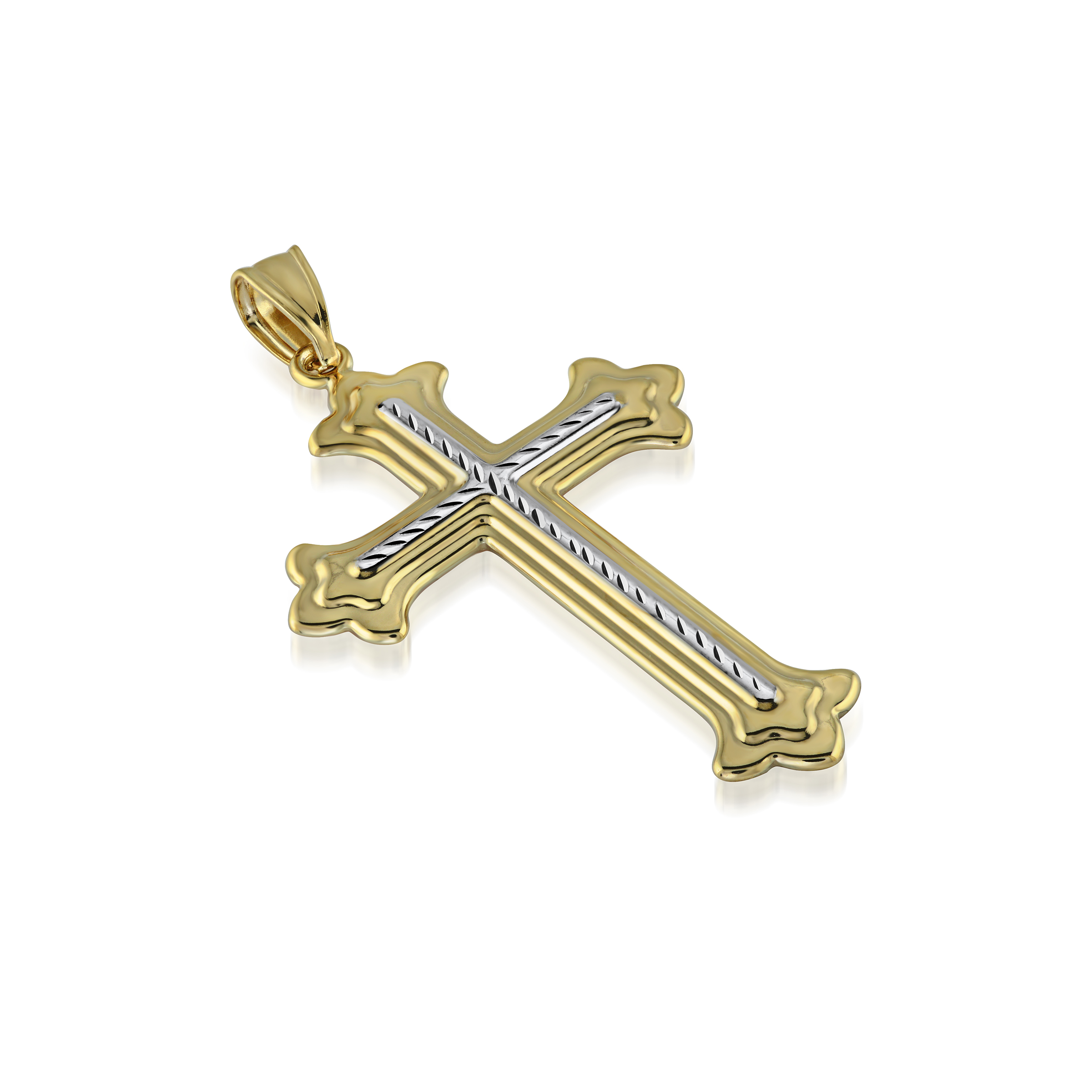Pendentif croix - Or 2-tons 10K