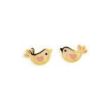 Boucles d'oreilles oiseaux avec émail - Or jaune 10K
