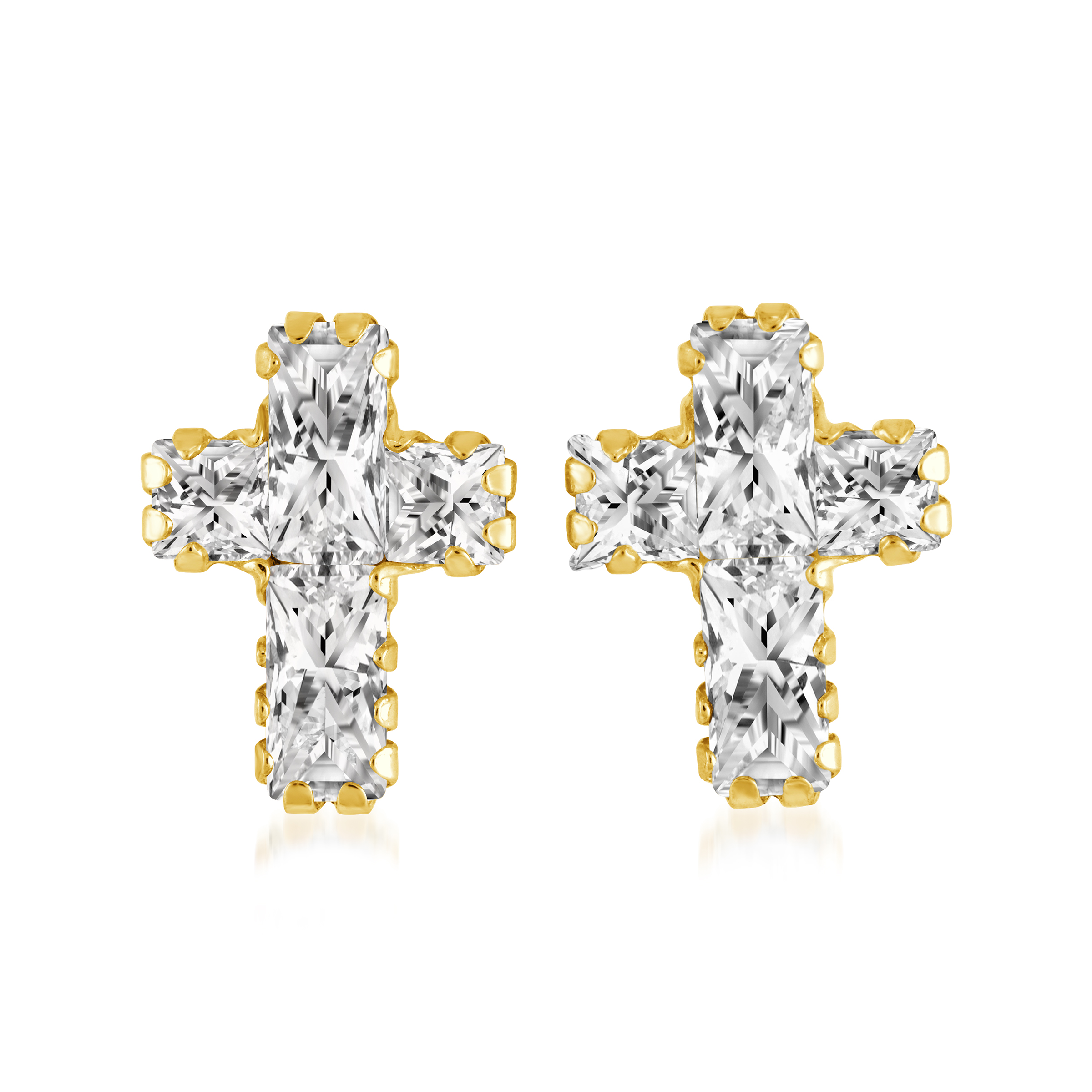 Cross earrings for kids - 10K yellow Gold & cubic zirconia