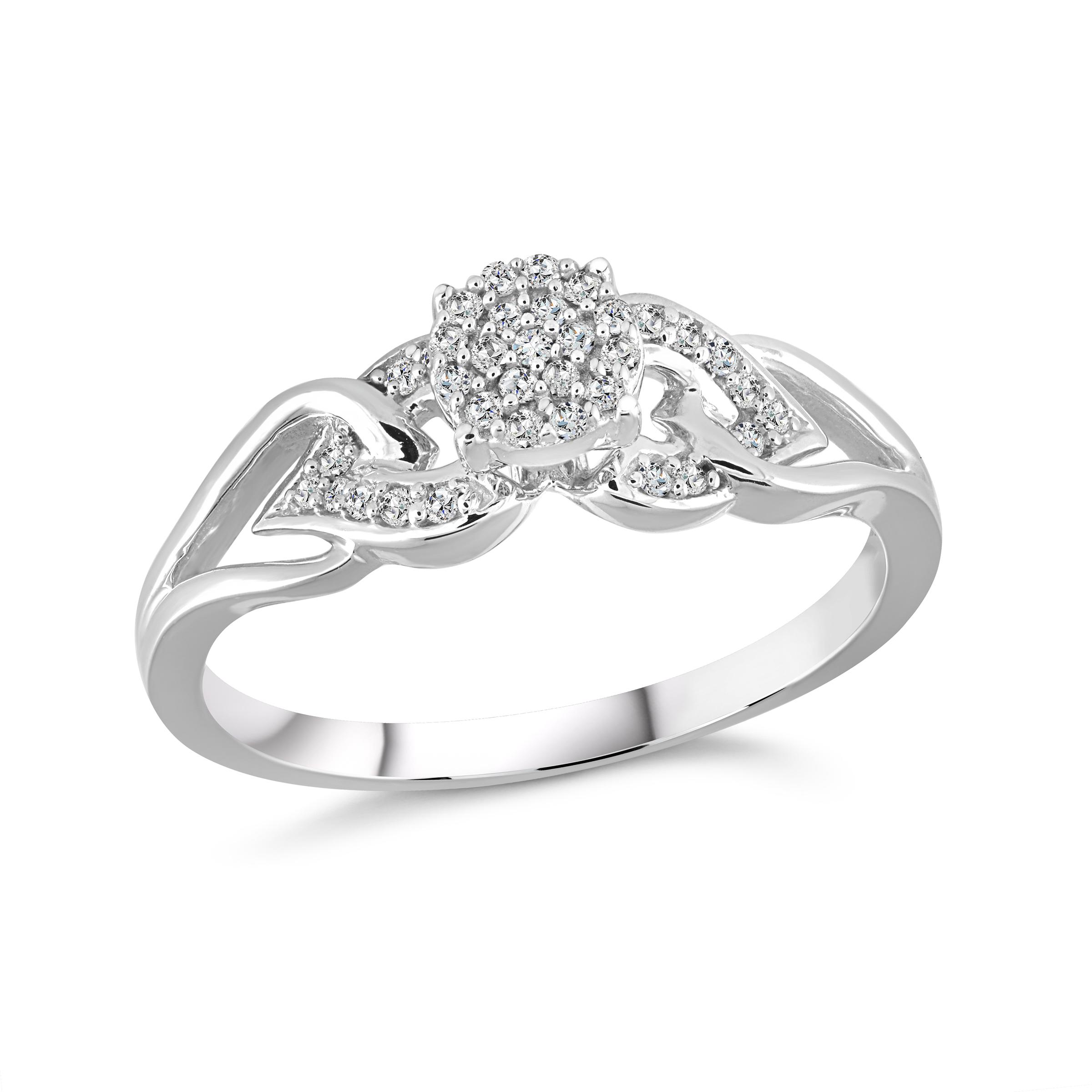 Bague de fiançailles - Or blanc 10K & Diamants totalisant 0.12 Carat