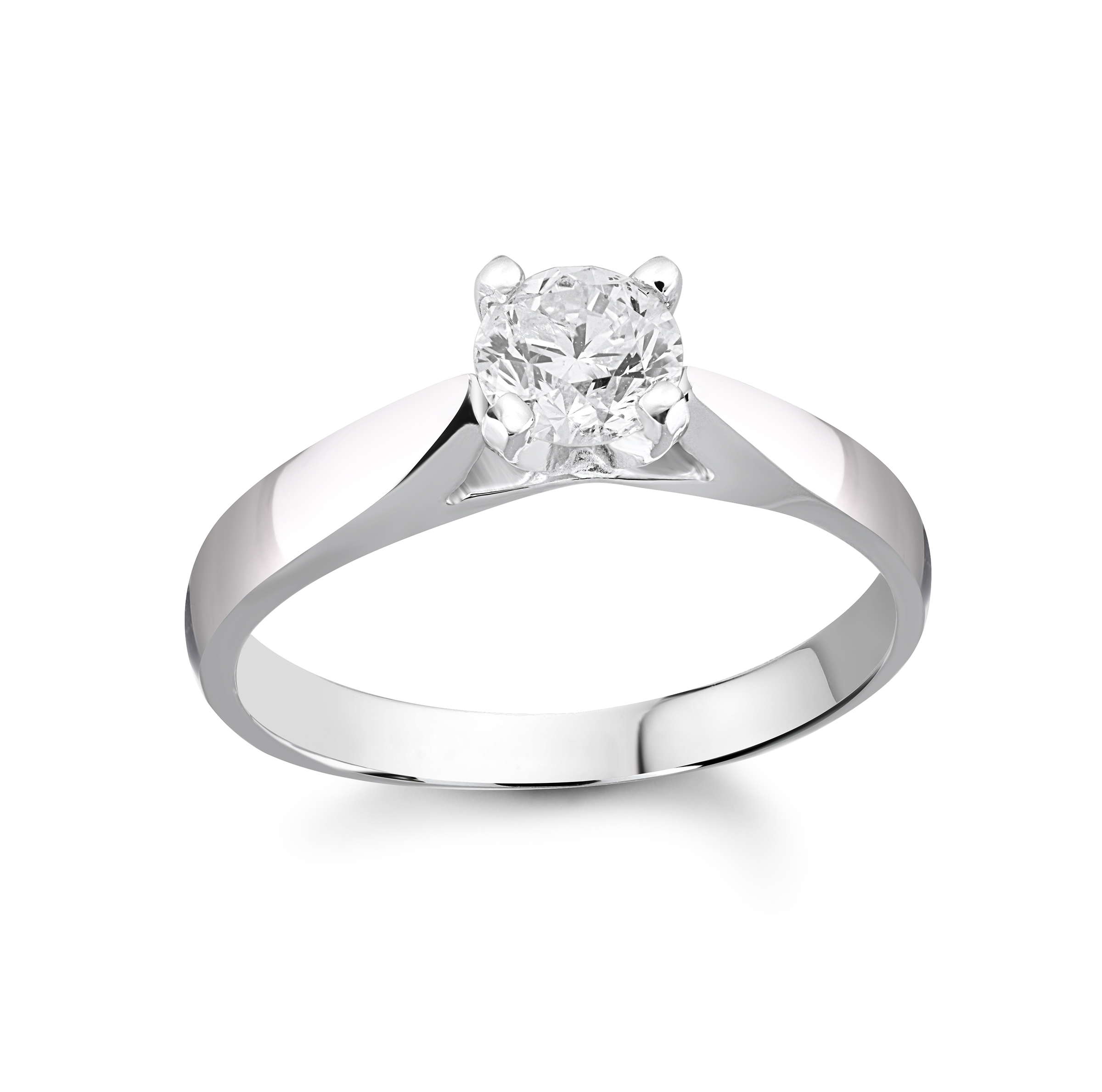 Engagement ring - 14K white Gold & Solitaire diamond 0.50 Carat T.W.