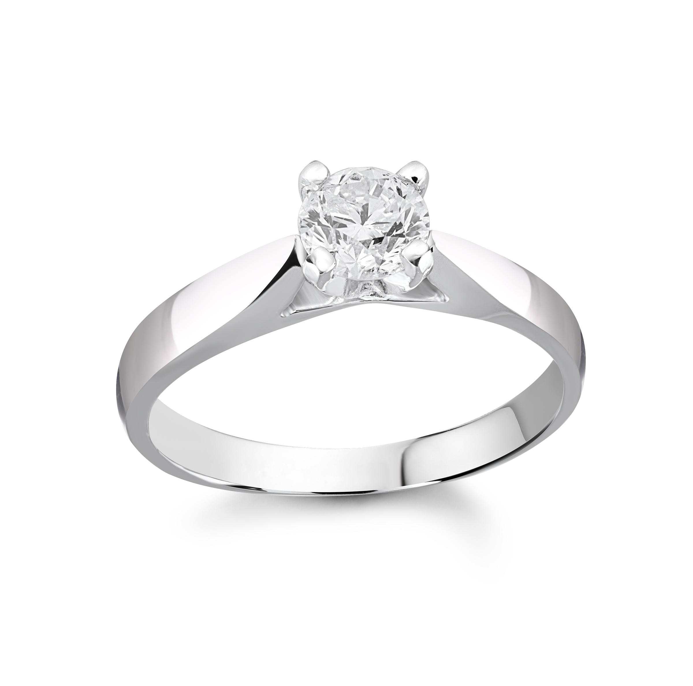 Bague de fiançailles - Or blanc 14K & Diamant solitaire de 0.50 Carat