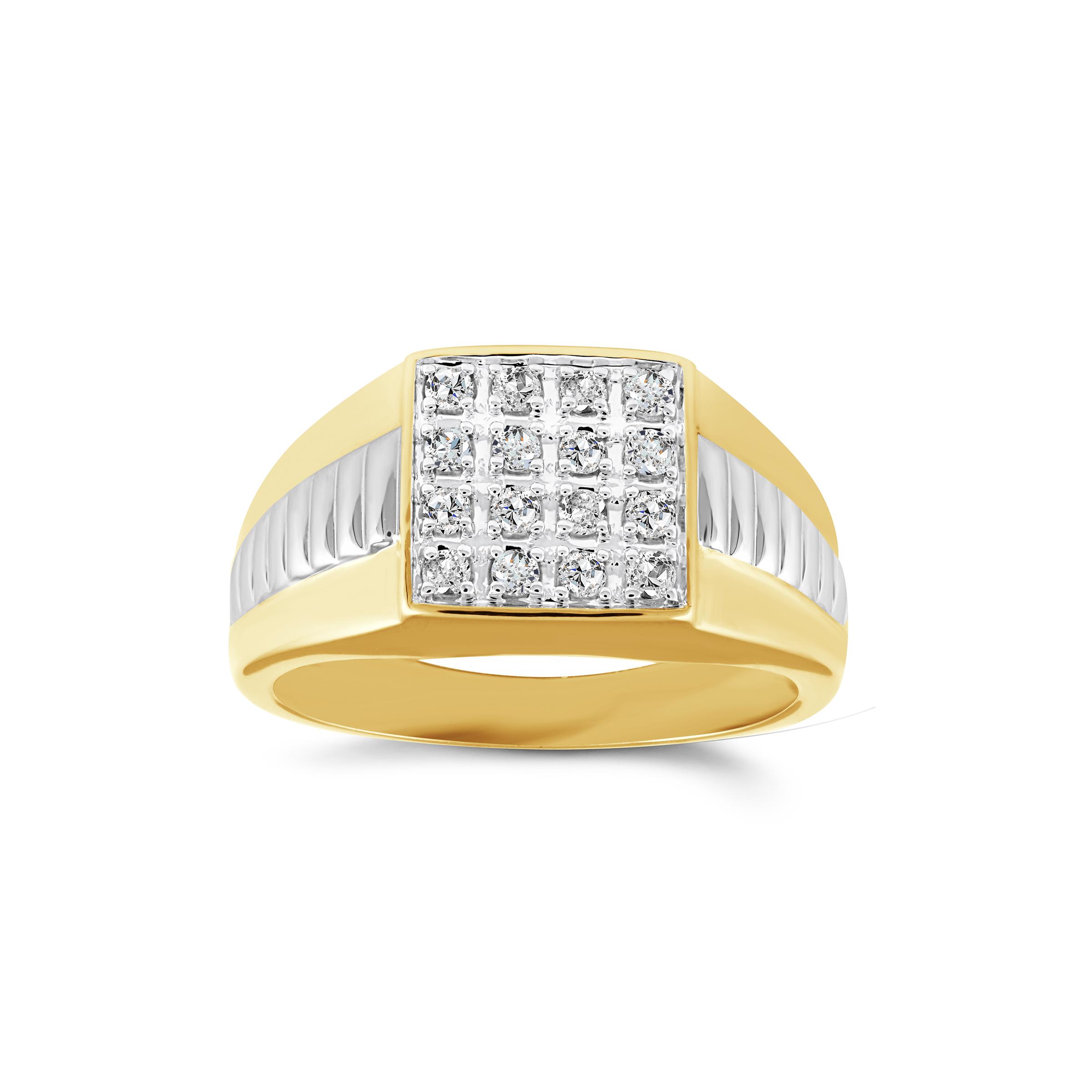 Bague carré pour hommes - Or 2 tons 10K & Diamants