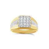 Square ring for men - 10K 2-tone Gold & Diamonds