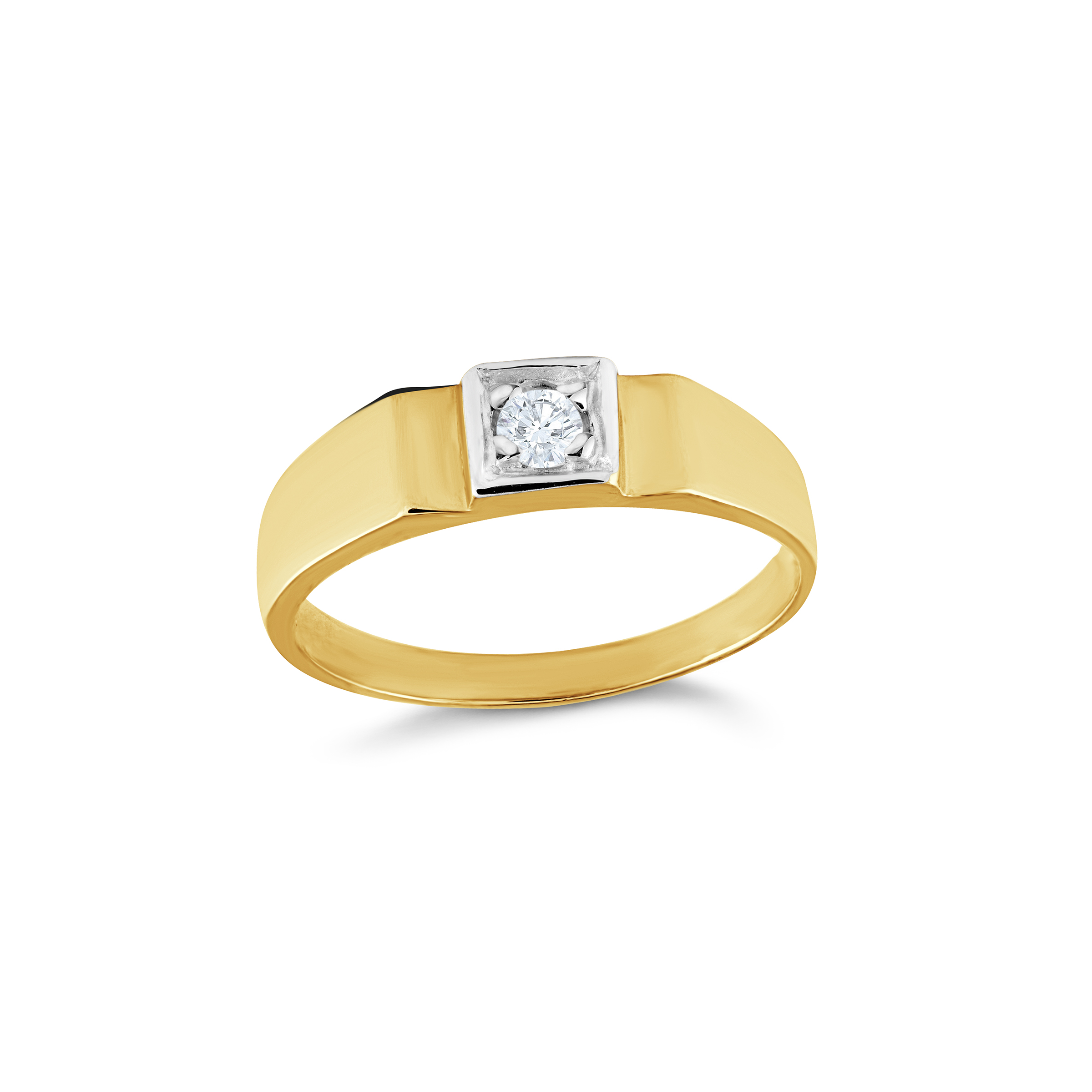 Square ring set with cubic zirconia for baby - 10K yellow Gold