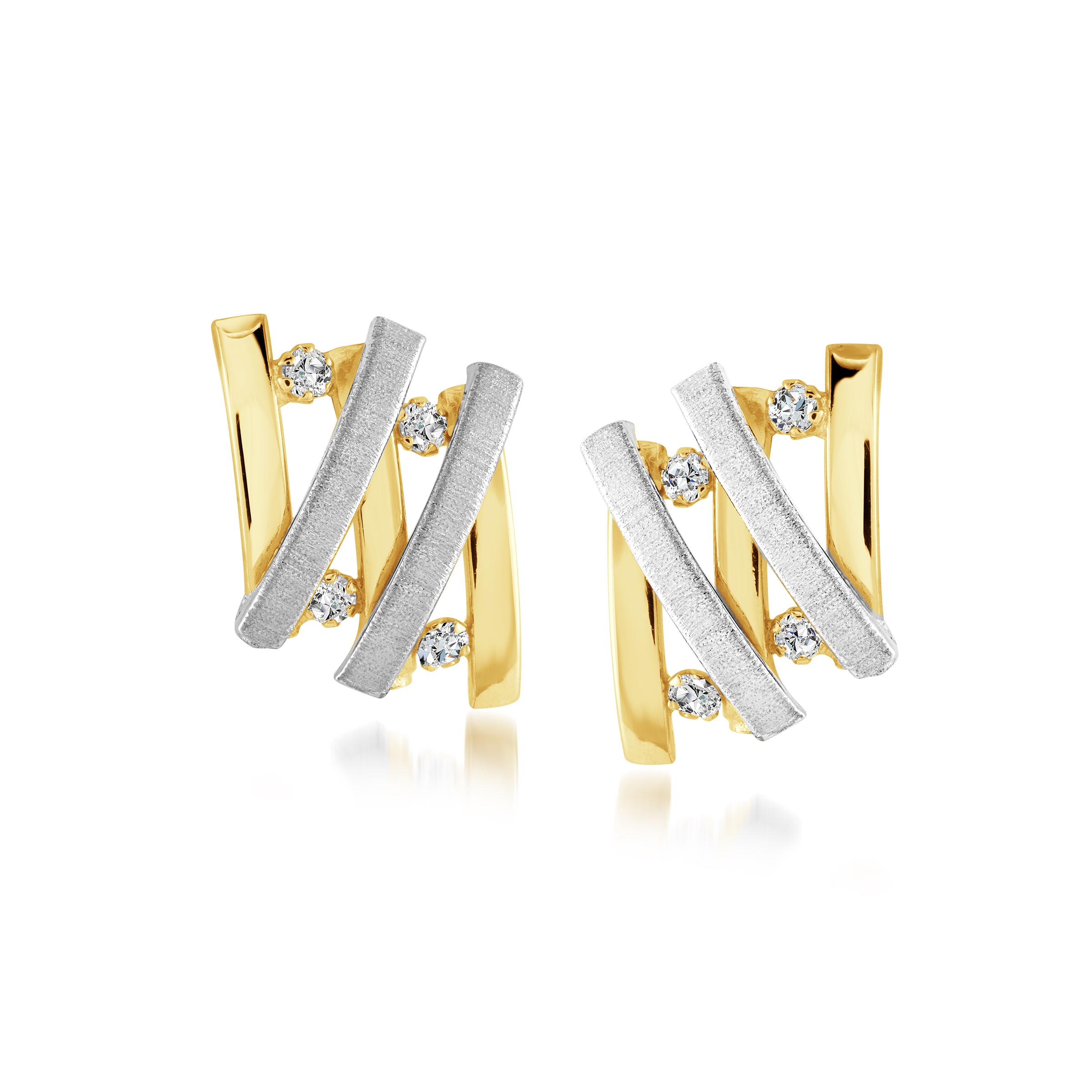 Stud earrings for women - 10K 2-tone Gold & cubic zirconia