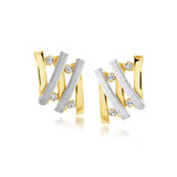 Stud earrings for women - 10K 2-tone Gold & cubic zirconia