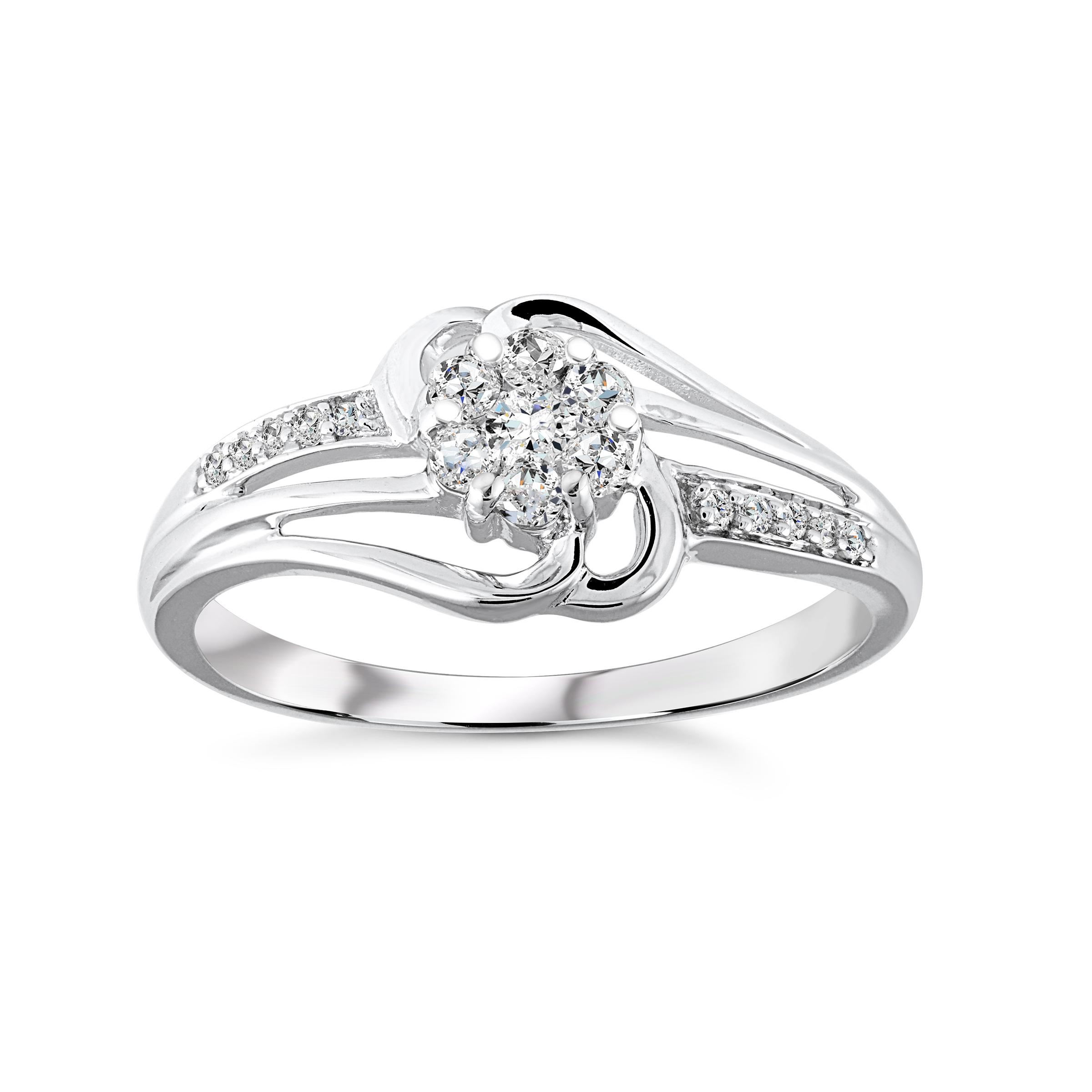 Flower Ring for women - White Gold 10K & Diamonds T.W. 19 pts