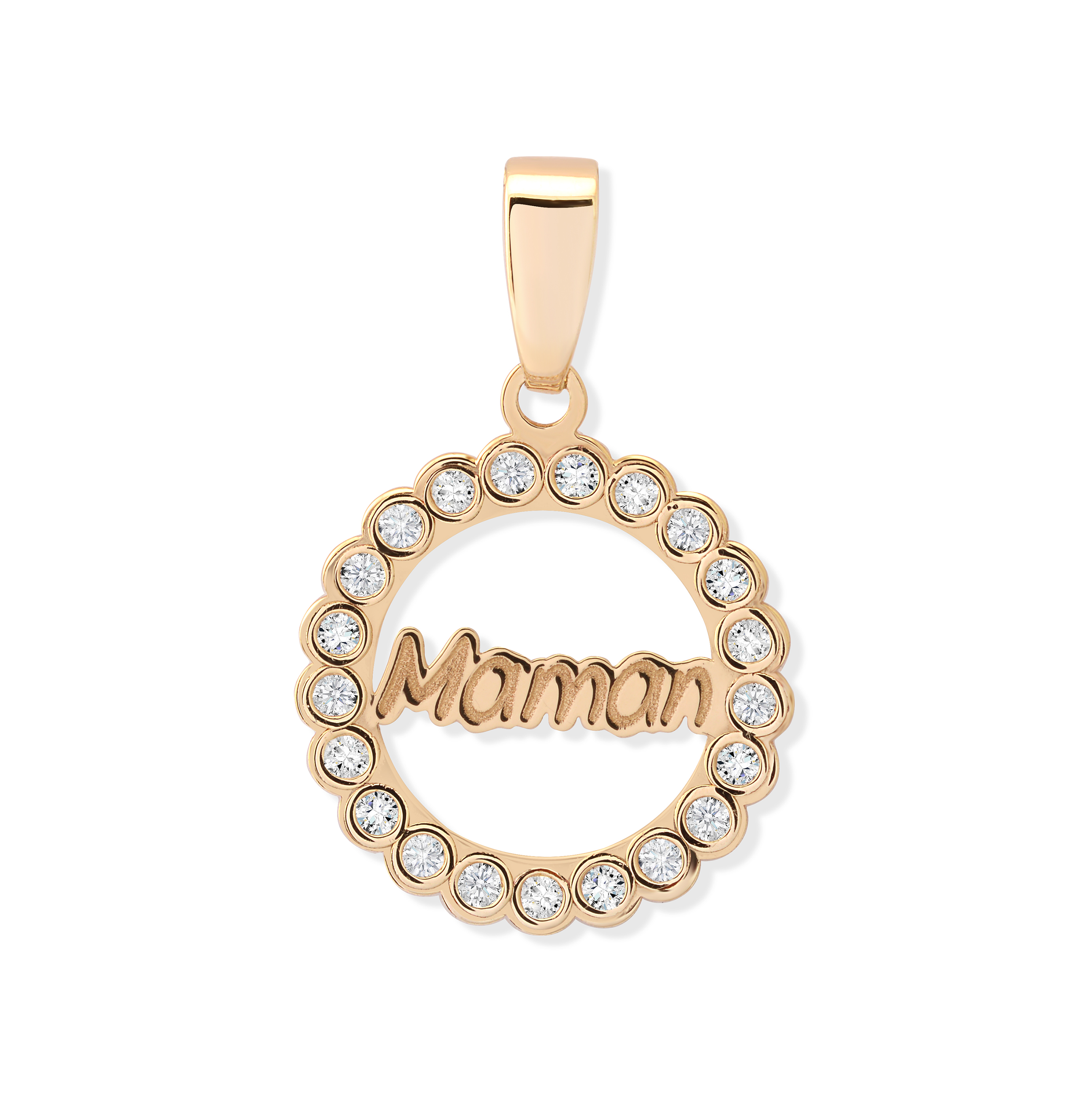 ''Maman'' pendant in 10K yellow gold with cubic zirconia