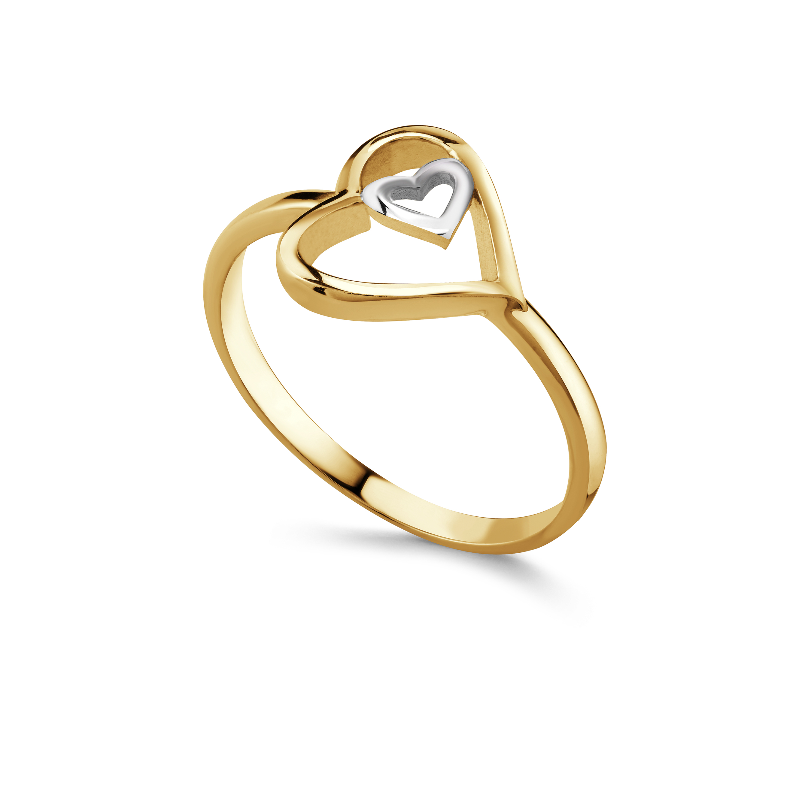 Women's Heart ring - 10K 2-tone Gold