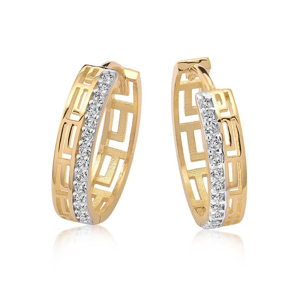 Boucles d'oreilles anneaux pour femmes - Or jaune 10K & Zircons cubiques
