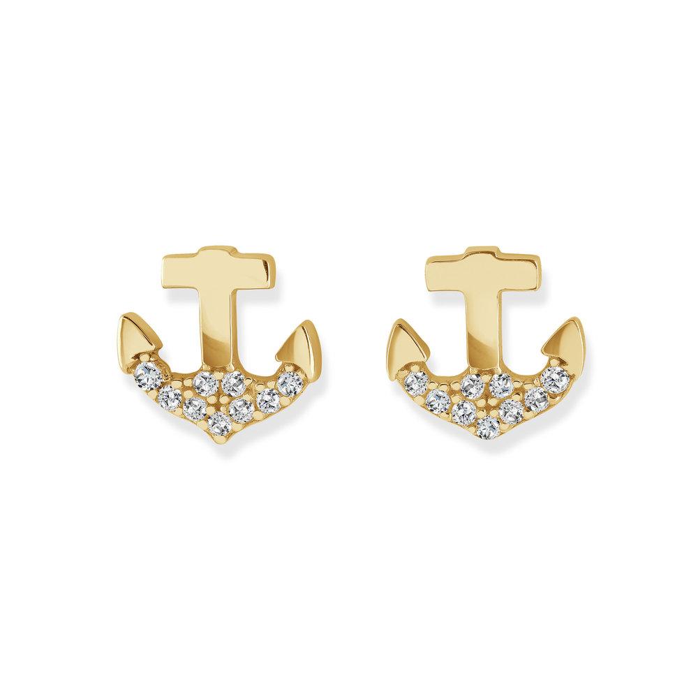 Boucles d'oreilles ancres en or jaune 10K avec zircons cubiques