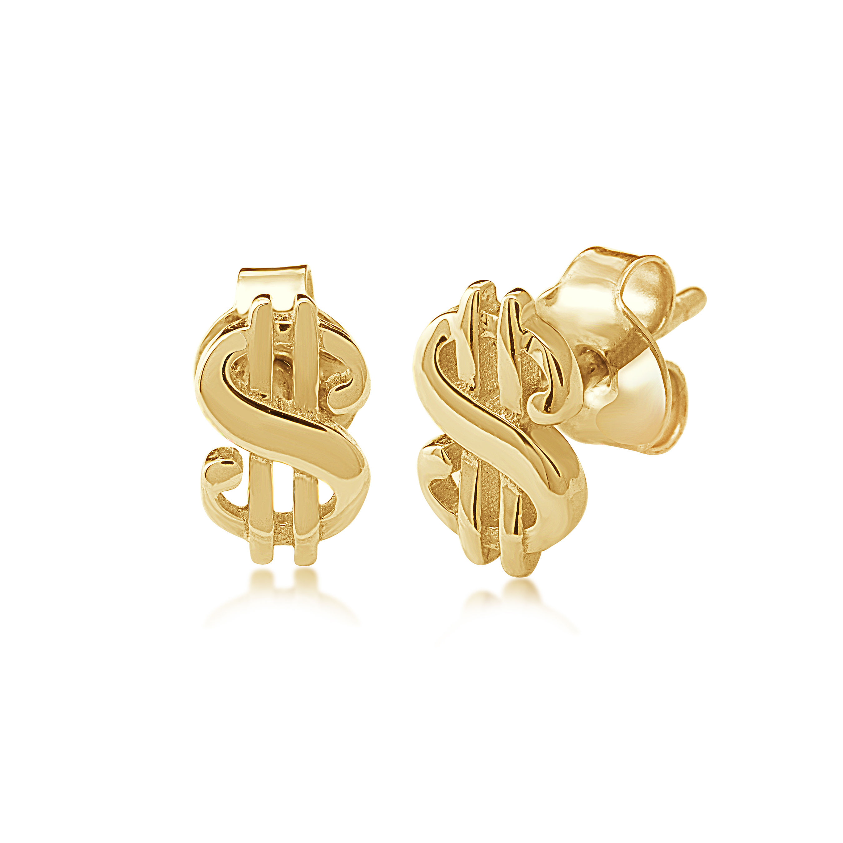 Dollar sign earrings for women - 10K yellow Gold