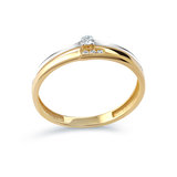 Women's ring - 10K 2-tone Gold & Cubic zirconia