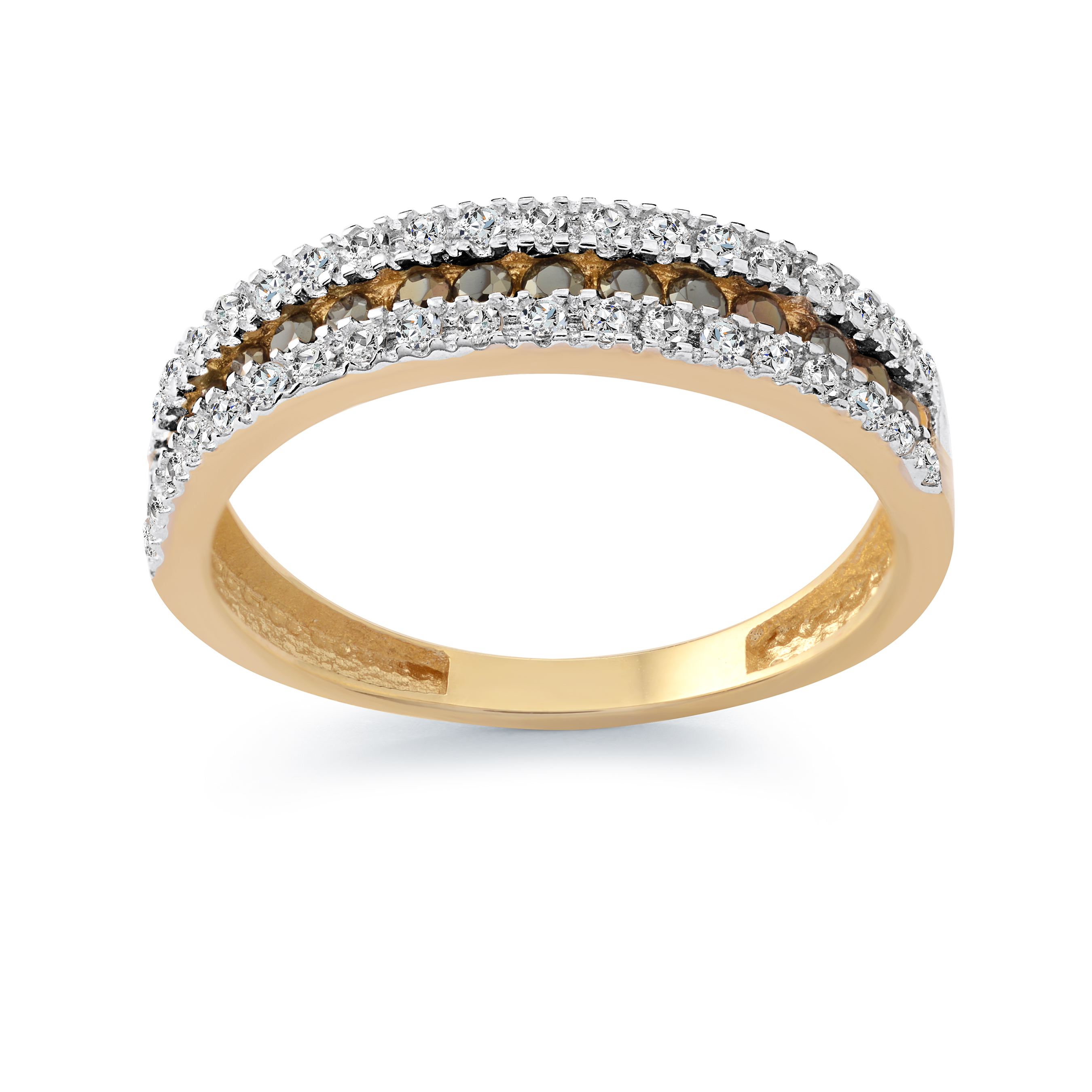 Women's ring - 10K yellow Gold & Black and white cubic zirconia