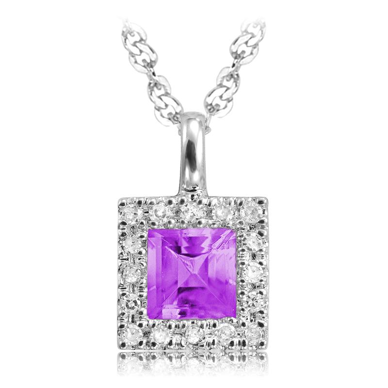 Pendentif carré  - Or blanc 10K serti de Diamants  & Améthyste
