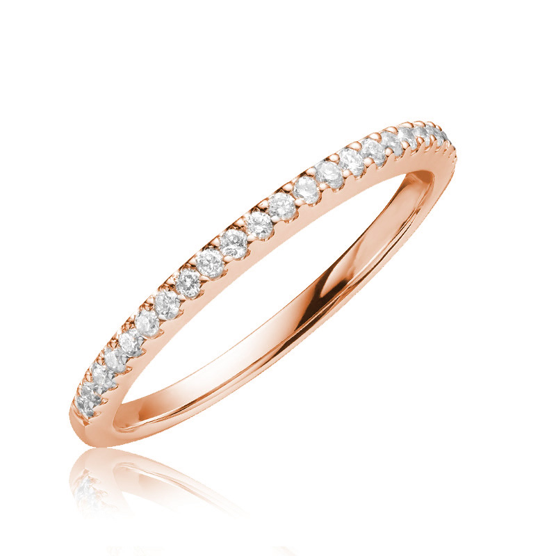 Jonc semi-éternité - Or rose 14K & Diamants