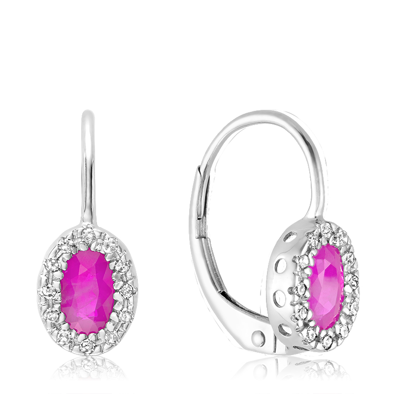 Earrings for women - 10K white gold set with diamonds and pink quartz