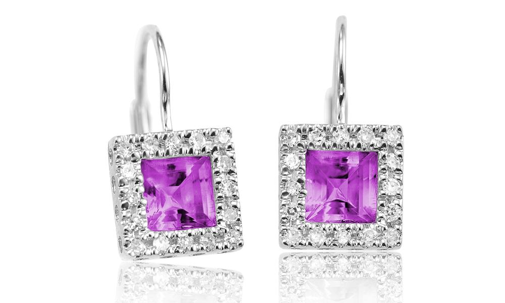 Boucles d'oreilles - Or blanc 10K & Diamants totalisant 0.17 Carat et Améthyste